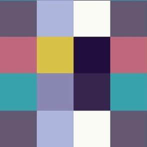 Winter Gingham Check - Pixel Squares, Yellow, Pink, Purple
