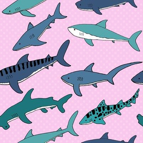 Colorful Shark Friends - Pink