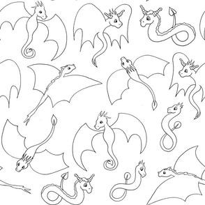 Dragon Friends - Black and White