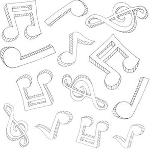 Music Note Sketch - Black and White