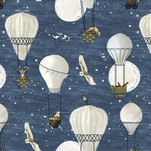 White hot air balloons, stars and moon medium scale with woodland animals on blue, hand-drawn, wildlings, owl, deer, fox, nursery, baby boy, home decor