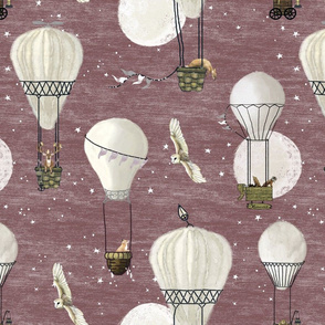White hot air balloons, stars and moon medium scale with woodland animals on baby lavender or maroon, wildlings, owl, nursery, baby girl, home decor, kids