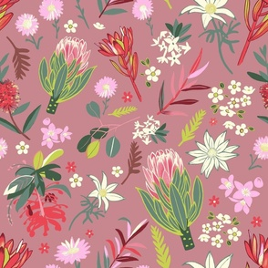 Australian Natives Floral-Brown-Larger scale