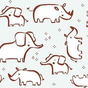Elephants and Rhinos mint