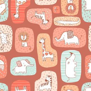 Animal blocks Savanna - terracotta