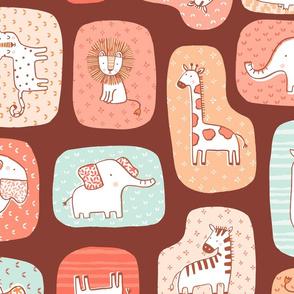 Animal blocks Savanna - dark brown - Large