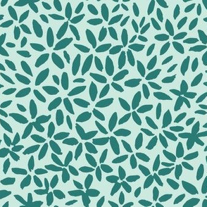 Expressive tiny flowers - mint and green