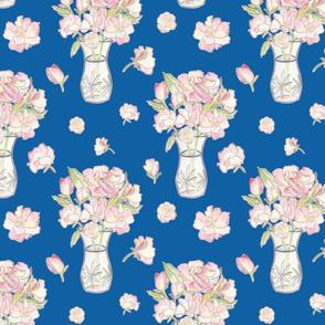 Watercolour Rose Bouquet - classic blue, medium