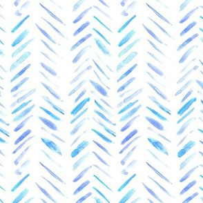 Blue and violet brush strokes watercolor herringbone - modern painted geometrical abstract pattern a134-1