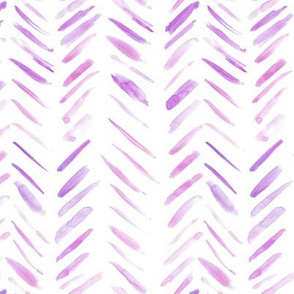 Lilac brush strokes watercolor herringbone - modern painted geometrical abstract pattern a134-3