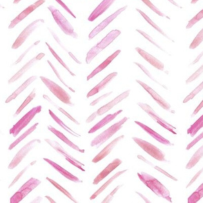 Raspberry brush strokes watercolor herringbone - modern painted geometrical abstract pattern a134-4