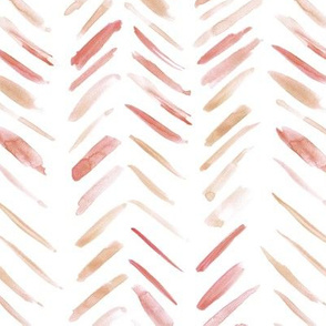 Rust neutral brush strokes watercolor herringbone - modern painted geometrical abstract pattern a134