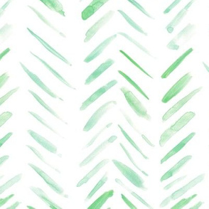 Celadon green brush strokes watercolor herringbone - modern painted geometrical abstract pattern a134-7