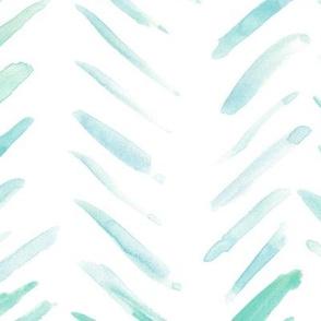 Emerald brush strokes watercolor herringbone - modern painted geometrical abstract pattern a134-8