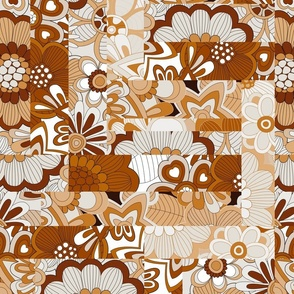 floral patchword in brown