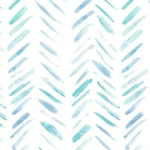 Baby blue and teal brush strokes watercolor herringbone - modern painted geometrical abstract pattern a134-9
