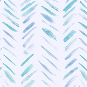 Teal and blue brush strokes watercolor herringbone - modern painted geometrical abstract pattern a134