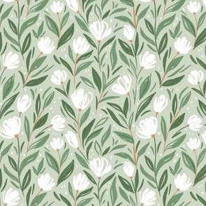 Beautiful floral pattern  in green colors