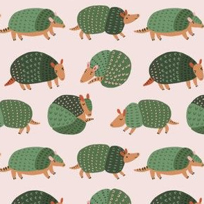 Armadillos on pink background
