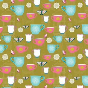 Gold Garden Tea Party Teacups