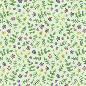 Ditsy Meadow Flowers on pale green