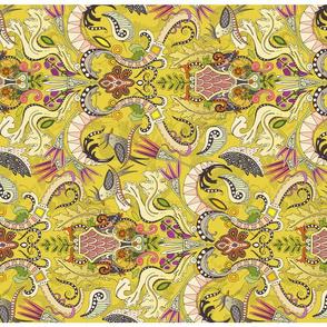 boho rococo yellow tea towel