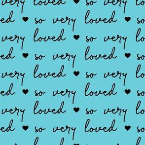 so very loved - black on blue - LAD21