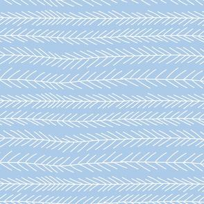 Medium Pine Branches Stripes in Pastel Blue