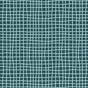 Small Hand Drawn Grid in Teal Blue Green