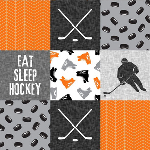 Eat Sleep Hockey - Ice Hockey Patchwork - Wholecloth custom orange black grey - C21