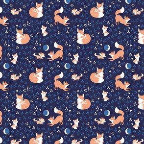 Fox Mama - navy leaves - small