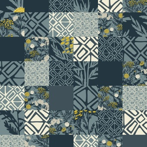 Weeds I Love Patchwork - Cheater Quilt Top - Repeating - Teal