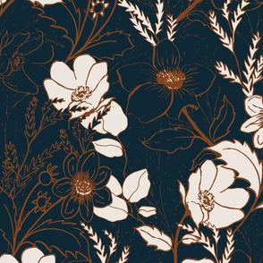 be gentle hand drawn floral print // navy blue // medium scale