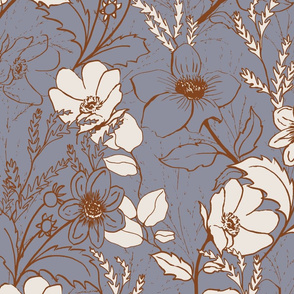 be gentle hand drawn floral print // periwinkle blue