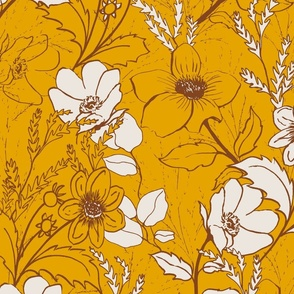 be gentle hand drawn floral // golden yellow