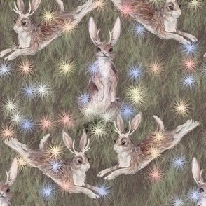 Jackalopes Dancing with Fairy Lights