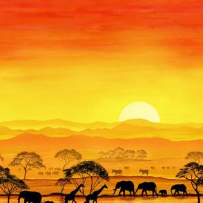 Savannah Sunset, Elephants, Giraffes and Zebras, Africa.