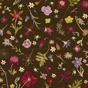 hand drawn flowers earth tones texture2
