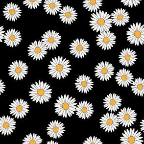 SMALL daisy fabric - daisy pattern, dainty fabric, dainty florals, feminine fabric, floral, spring floral - black