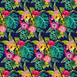 Boho Tropical Floral // Navy (Small)