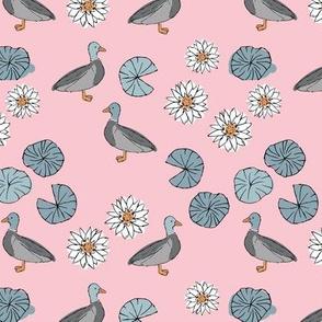 Chasing ducks in a pond sweet spring nursery design kids duck pattern boho mallard friends lillies and leaves soft pink blue gray