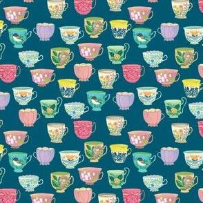 Vintage Tea Cups {Prussian Blue} micro scale