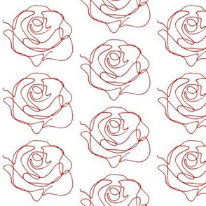 Continuous Line Roses - white