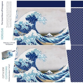 Cut and Sew Clutch bag // Hokusai The Great Wave