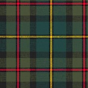 "MacLeod of Harris / green MacLeod tartan, 6"" muted dark, slubs, grey stripe and bright red/yellow"