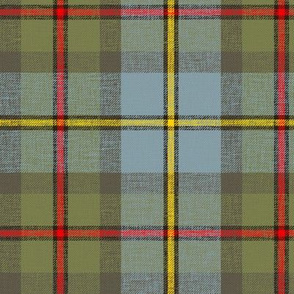 "MacLeod of Harris / green MacLeod tartan, 6"" olive variant, slubs, grey stripe and bright red/yellow"