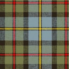 "MacLeod of Harris / green MacLeod tartan, 6"" olive variant, slubs, bright red/yellow stripe"