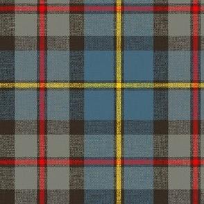 "MacLeod of Harris / green MacLeod tartan, 6"" weathered faded, slubs,bright red/yellow stripes"
