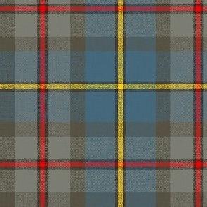 "MacLeod of Harris / green MacLeod tartan, 6"" weathered faded, slubs, grey stripe and bright red/yellow"