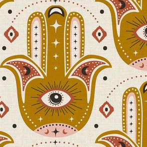 Good Fortune - Hamsa Hand - Textured Ivory Goldenrod Yellow - Large Scale